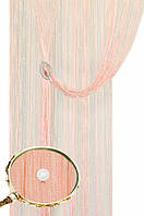 Кисея шторы нити Блистер 0+111 (персиковые с белыми жемчужинами)