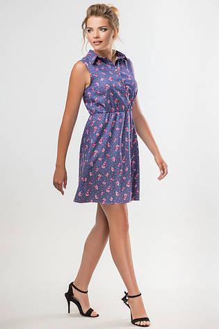 ba7fa8c2162 Женское летнее платье-рубашка без рукавов с принтом Розочки - купить ...