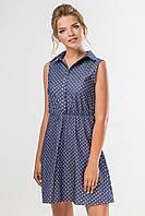 Женское летнее платье-рубашка без рукавов с принтом сердечки