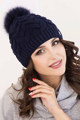 Женская шапка «Фиби» с цветным песцовым помпоном