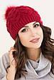 Женская шапка «Фиби» с цветным песцовым помпоном, фото 3