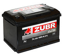 Аккумулятор ZUBR Ultra - 74A +правый 680 А
