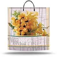 Пакет пластиковая ручка 40*40 Желтый букет 10шт/уп