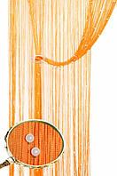 Кисея шторы нити Блистер 3+111  (оранжевая нить+белые бусины)