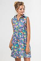 Женское летнее платье-рубашка без рукавов с принтом Цветы на голубом