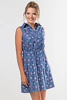 Женское летнее платье-рубашка без рукавов с принтом Бантики