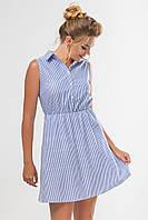 Женское летнее платье-рубашка без рукавов с принтом в полоску