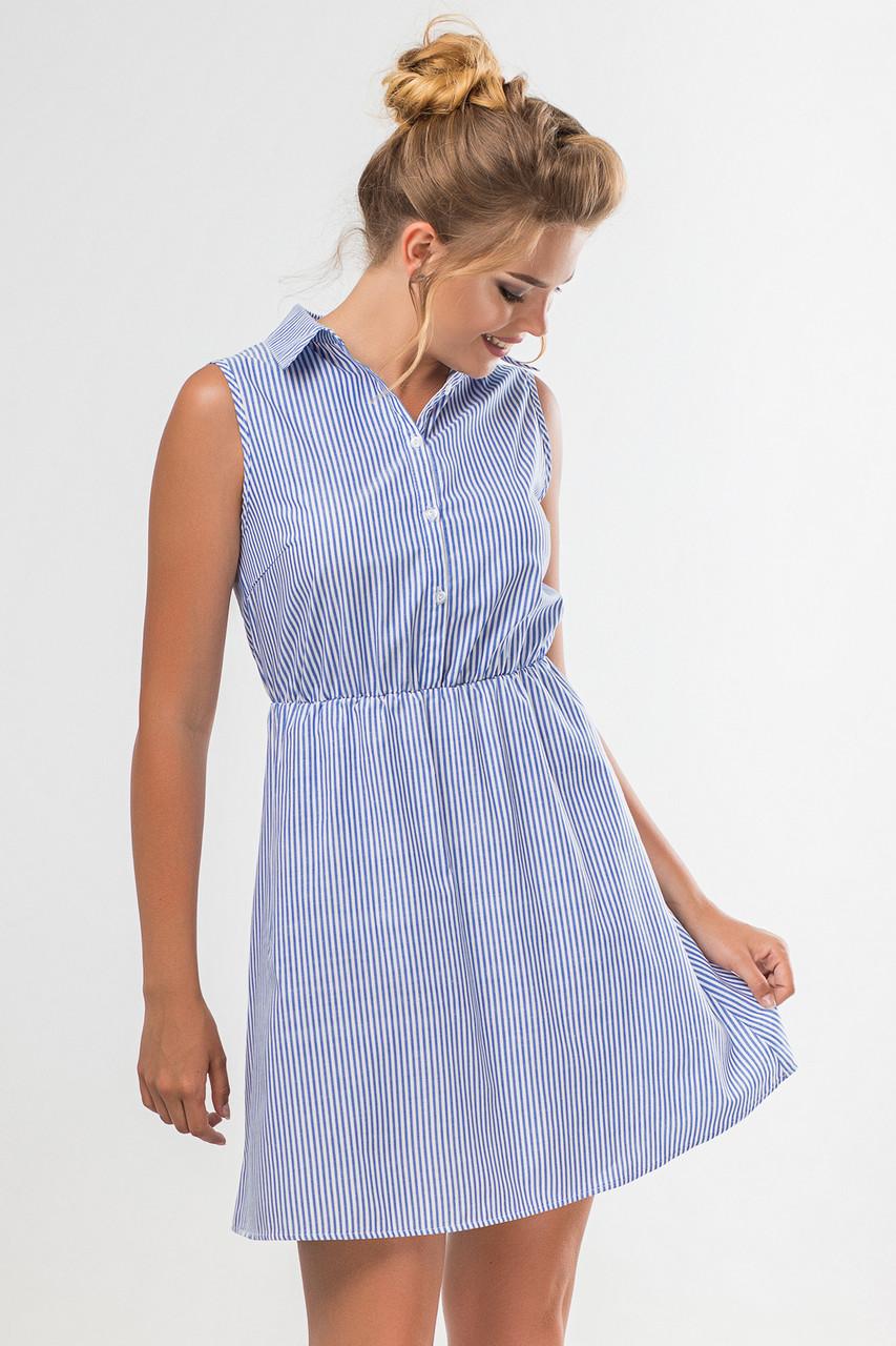 4f958f639ea Женское летнее платье-рубашка без рукавов с принтом в полоску -