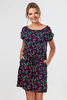 Летнее женское платье-туника с карманами и манжетом Вишенки