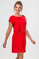 Летнее женское платье-туника с карманами и манжетом Красное