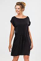 Летнее женское платье-туника с карманами и манжетом Черное
