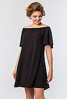 Повседневное женское платье выше колен с открытыми плечами черного цвета