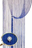 Кисея шторы нити Блистер 208+111 (нить электрик+белые бусины)
