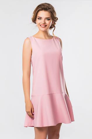cb37278ef03 Летнее женское платье без рукавов с воланом внизу пудровое - купить ...