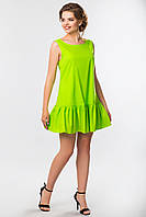 Летнее женское салатовое платье с рюшами на подоле без рукавов