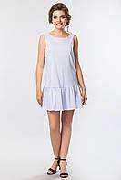 Летнее женское платье в мелкую полоску с рюшами на подоле без рукавов