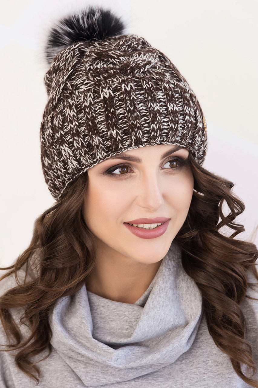 Женская шапка меланж «Моника» с помпоном чернобурка