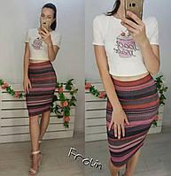 Женский летний костюм двойка юбка и топ в разных цветах