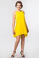 Яркое летнее женское платье на бретелях с ассиметричным низом Желтое