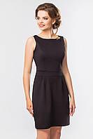 Офисное женское черное платье до колен без рукавов