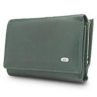 7b3ec3f56dfc Компактный женский кожаный кошелек зеленого цвета с внешней металлической  рамкой (15169)