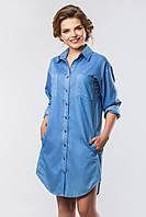 Женское платье-рубашка из светлого джинса с круглым подолом