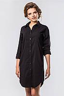 Свободное летнее женское платье-рубашка черного цвета с круглым подолом