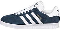 Мужские кроссовки Adidas Gazelle Navy/White (Адидас Газели) темно-синие