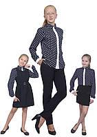Блузка детская для девочек М-1068 рост 122-170 горох
