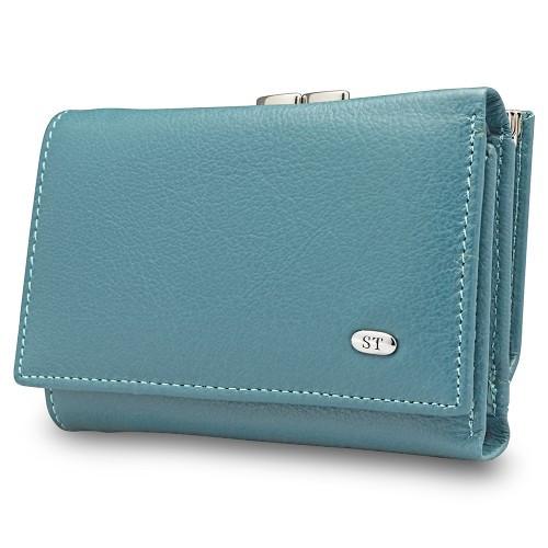 Компактный женский кожаный кошелек синего цвета ST Leather Accessories