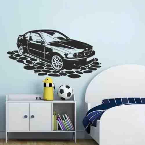 Виниловая интерьерная наклейка для детской комнаты Машина (автомобиль наклейки для мальчиков стикер оракал) матовая 970х510 мм