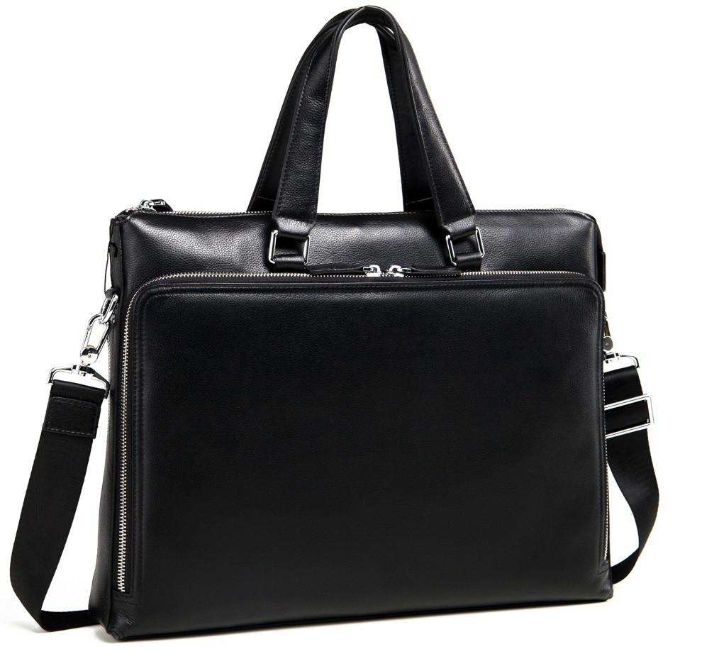 0f1e7c82c71c Элегантная кожаная сумка для мужчин TIDING BAG; M664-4A, чёрный 39х30х6 см.
