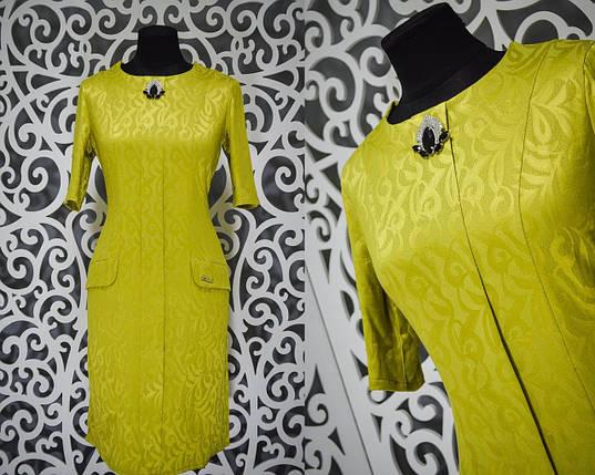 Шикарное женское платье с набивным рисунком и брошью ткань *габардин* 48 размер норма, фото 2
