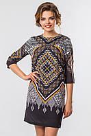 Нарядное летнее женское платье выше колен с рукавом принт Узор на черном