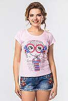 Летняя женская розовая футболка с подворотами на рукавах Девочка в очках