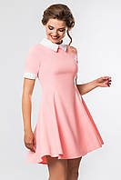 Летнее молодежное платье мини с белым воротником Розовое