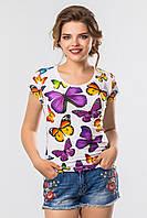 Летняя женская белая футболка  с ярким принтом Бабочки