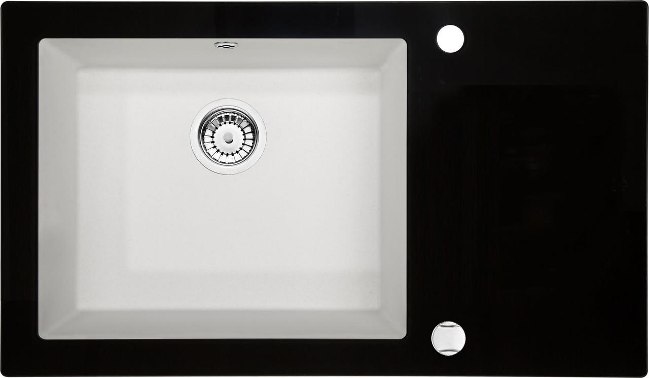 Кухонная мойка Deante CAPELLA стекло (черное)/гранит (алебастр) край граненый