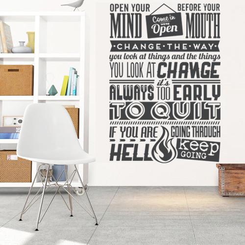 Интерьерная текстовая наклейка надпись Open your mind (английские буквы слова) матовая