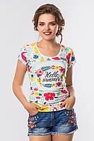 Женская летняя футболка с коротким рукавом принт Лето