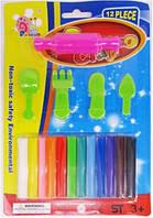 """Пластилин восковый 1169 PlaysBro Clay """"Скалка"""" 168г 12цветов +5шт формы уп24"""