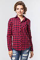 Стильная женская рубашка с длинным рукавом в красно-синюю клетку