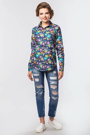 68d401c6d98 Яркая джинсовая женская рубашка с длинным рукавом в цветочек ...