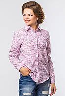 Классическая женская рубашка с длинным рукавом розовая в цветочек