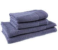 Однотонное большое полотенце махровое металлик серое с бордюром 100% хлопок стандарт