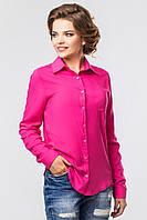 Классическая женская малиновая рубашка с длинным рукавом