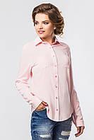 Женская офисная розовая льняная рубашка с длинным рукавом