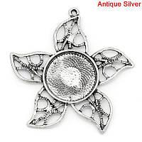 Подвеска, Цветок, Цвет: античное серебро, Основы для кабошонов (Для 20мм ), 5.1см x 5см