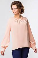Нарядная женская розовая блузка со складами и объемными рукавами
