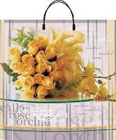 Пакет пласт руч 40*40 Жёлтый букет